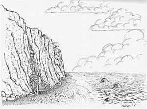 Artist Adron: Shore Cliff Fantasy Drawing, Sketched With ...