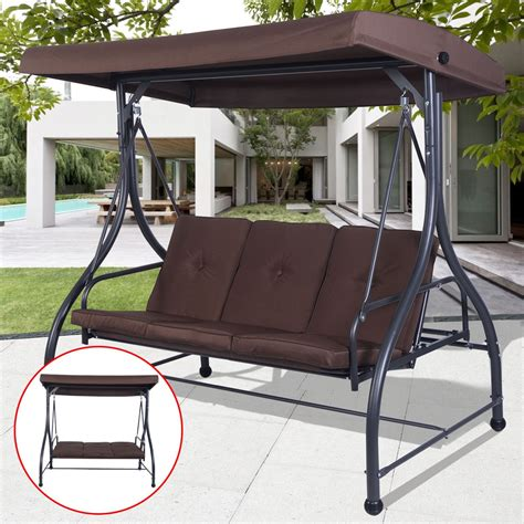 swing patio furniture 3 seats cushioned porch swing chair porch swings