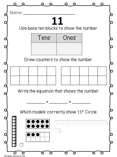 numbers 11 20 composing and decomposing them homework