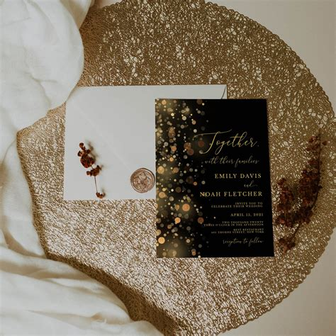 Black and Gold Wedding Invitation Template Wedding