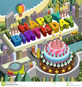 Flat 3d Isometric City Scenery With Big Birthday Cake ...
