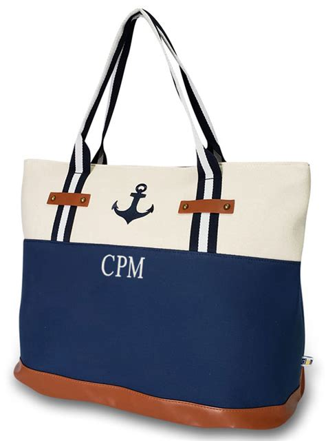 nautical anchor tote bag personalized