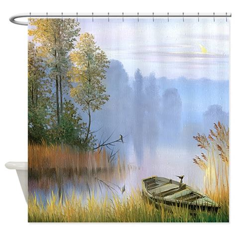 painting shower curtain lake painting shower curtain by bestshowercurtains