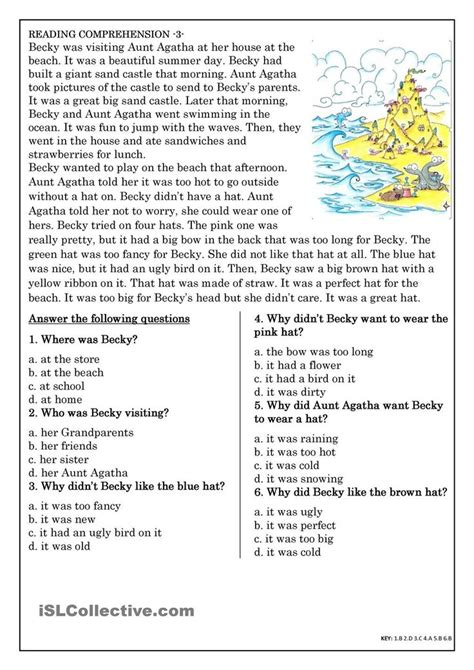 comprehension test best 25 comprehension exercises ideas on 3rd