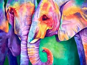 Colorful Elephants - Fantasy & Abstract Background ...
