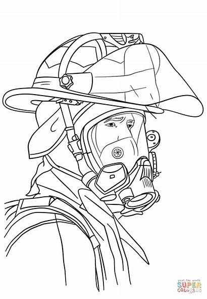 Firefighter Coloring Portrait Pages Fire Drawing Fireman