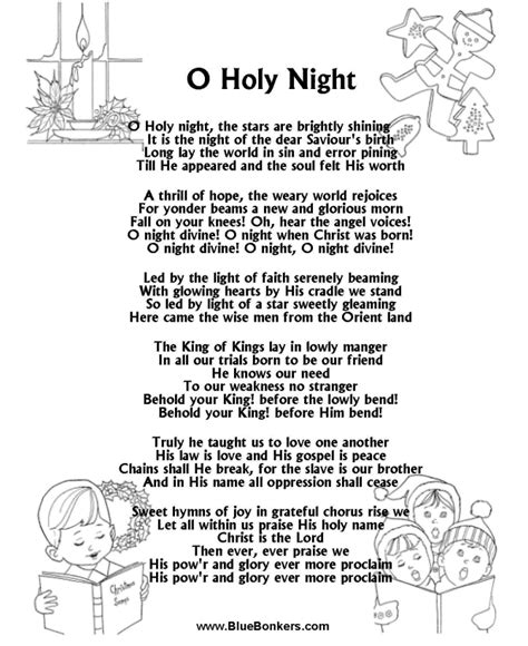 Bluebonkers O Holy Night, Free Printable Christmas Carol