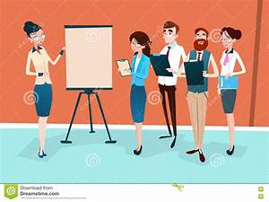 Business People Group Presentation Flip Chart ...