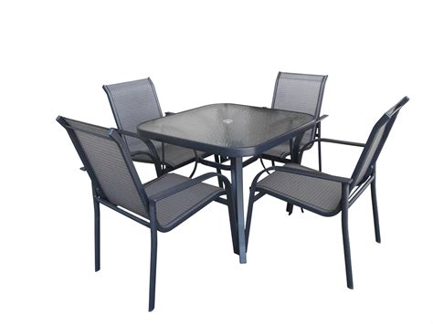 glass patio table and 4 chairs glass top patio table and chairs 5 salterini patio set