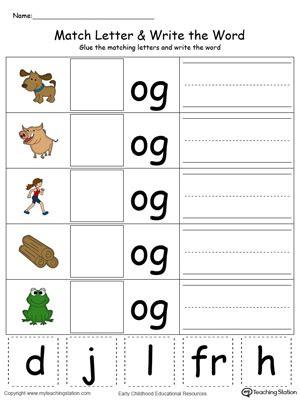 kindergarten building words printable worksheets 3 | OG Word Family Match Letter and Write the Word Color