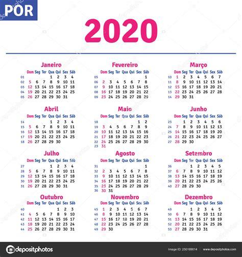 portugues brasileno calendario vector de stock