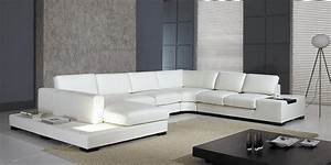6 modern sofa set designs latest model 2018 2019 for Modern black leather sectional sofa with built in light