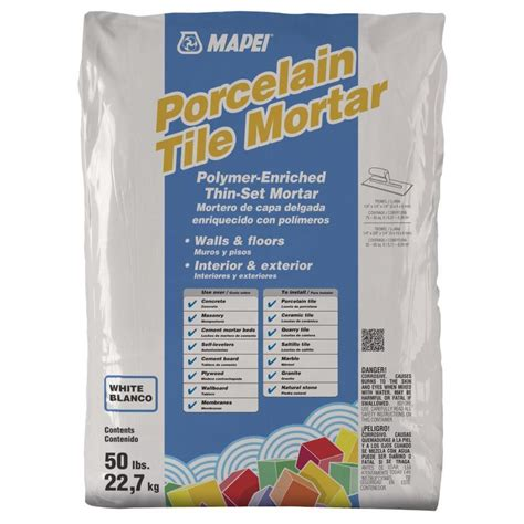 mapei porcelain tile mortar vs ultraflex shop mapei porcelain 50 lb white powder thinset mortar at