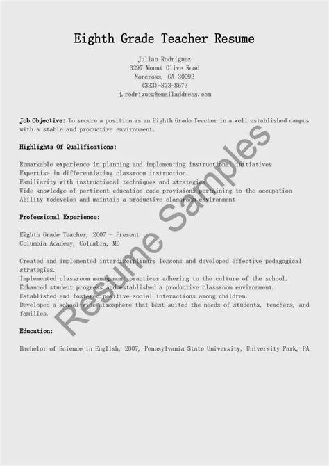 Grad Resume by Resume Sles Eighth Grade Resume Sle