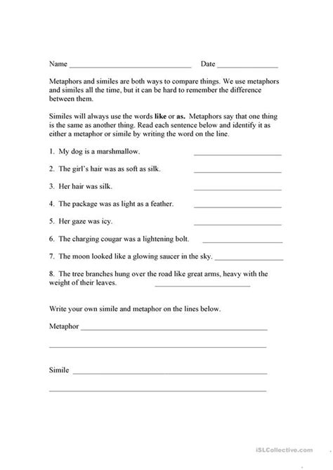 similes and metaphors worksheet free esl printable