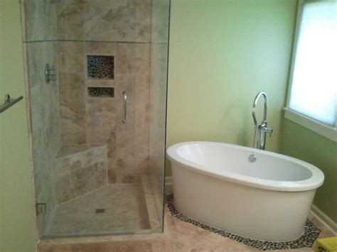 houzz small bathrooms ideas shower and stand alone tub
