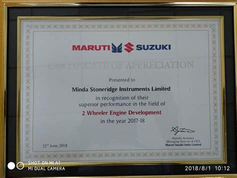 Suzuki Certification by Awards Achievements Minda Stoneridge Instruments Limited