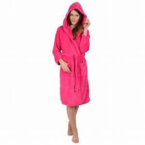 womens hooded soft coral fleece bath robe dressing gown With robe fuchsia