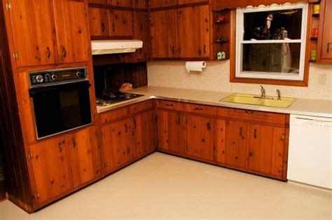 Cabinets Knotty Pine by S 1961 Knotty Pine Kitchen Before And After Retro