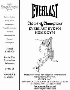 Impex Fitness Eve 900 Owners Manual Parts List
