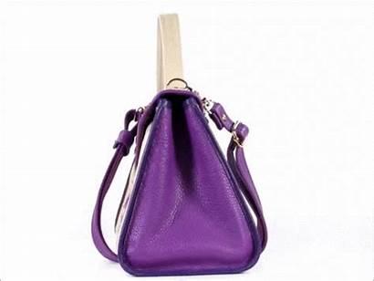 Leather Purple Purse Beige Embroidered Irises Handbag