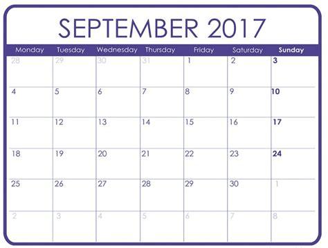September 2017 Calendar Template September 2017 Calendar With Holidays Calendar Template