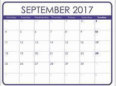 September 2017 Calendar with Holidays Calendar Template