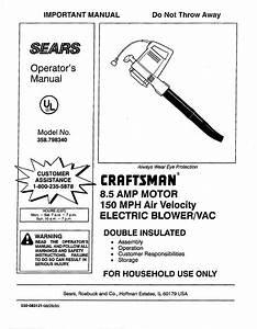 Craftsman Blower 358 798340 User Guide