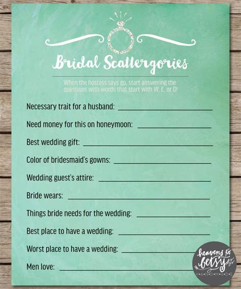 Mint Watercolor Scattergories Bridal Shower & by HTBHandmade