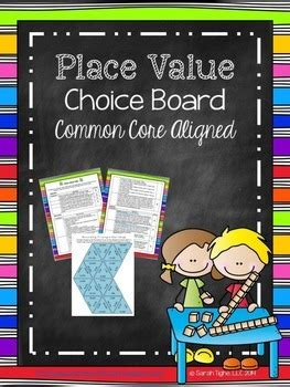 place  choice board common core aligned  sarah
