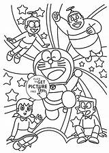 Doraemon Coloring Friends Cartoon Pages Printable Cartoons 4kids Together sketch template