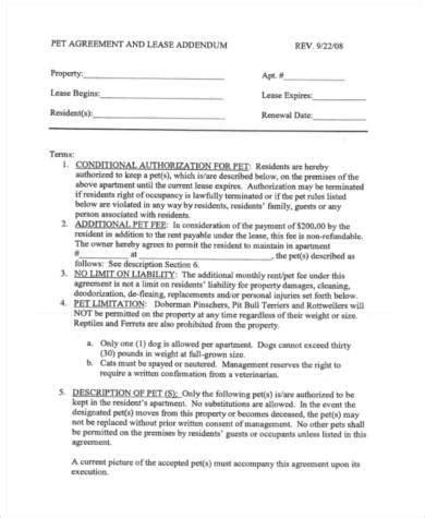 free 9 sle pet agreement forms pdf