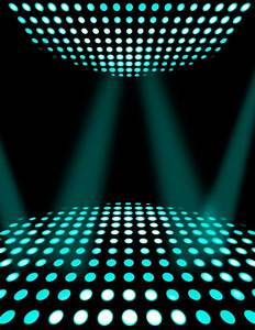 Dance floor disco poster background. Cyan spotlights ...