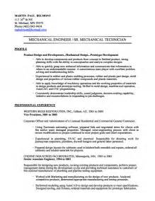 Mechanical Design Engineer Resume Summary by Sle Resume Mechanical Engineer Gallery Creawizard
