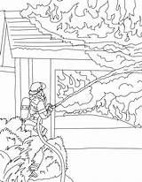 Coloring Firefighter sketch template