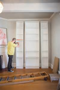 laura s living room ikea billy bookshelves hack the