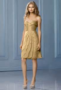 metallic bridesmaid dresses wtoo style 499 knee length gold chiffon a line bridesmaid dress with a sweetheart neckline