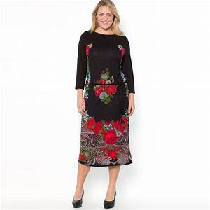 robe longue grande taille 46 soldee noire et imprime rose With robe longue taille 46