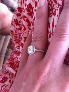 buying a moissanite co halo engagement ring what size With what wedding ring should i get