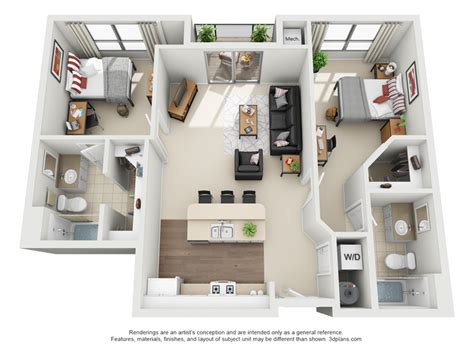Ideas For 2 Bedroom Apartment by 2 Bedroom 2 Bathroom