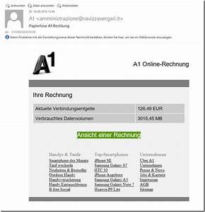 1 Und 1 Rechnung : trojaner warnung gef lschte a1 online rechnung mimikama ~ Themetempest.com Abrechnung