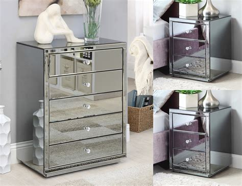 mirror tables vegas smoke mirrored bedside tables tallboy package