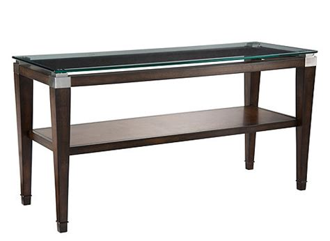 dunhill glass console table walnut raymour flanigan