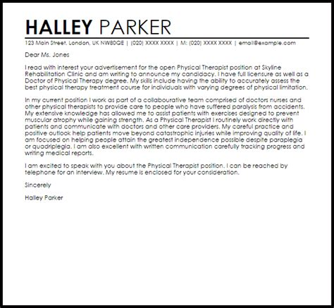 Cover Letter For A Physical Therapist by Physical Therapist Cover Letter Sle Cover Letter
