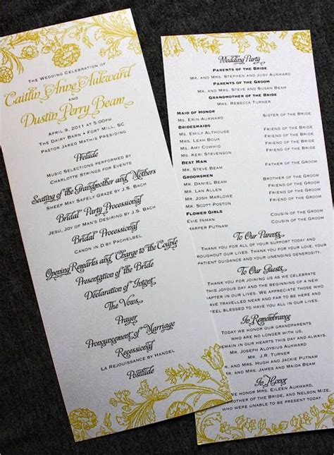 wedding program sle wording ideas creative wedding programs 21st bridal world wedding lists and trends just the two of us