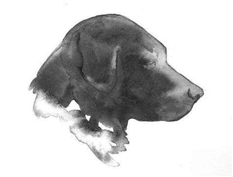 black lab dog silhouette watercolor painting