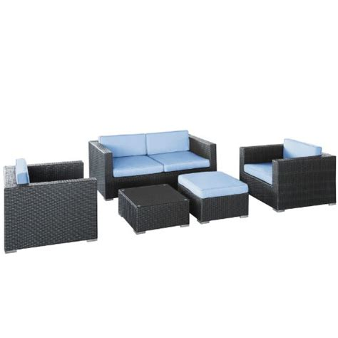 lexmod malibu outdoor wicker patio 5 sofa set in