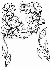 Coloring Bees Printable sketch template