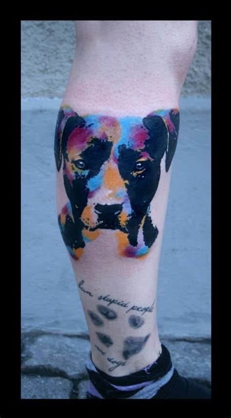 watercolor portrait   dog  paw print tattoo