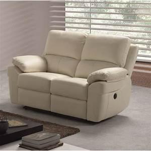 Corcega canape droit de relaxation en cuir 2 places for Canapé cuir 2 places relax